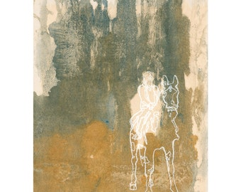 Abstract horse print, modern wall art, horse back riding wall art  8 x 10 - available in different sizes