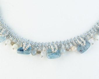 Kyanite Necklace, Statement Necklace, Aquamarine Beach Casual Necklace, Gemstone Necklace, Blue Necklace, Beadwoven, Labradorite Necklace
