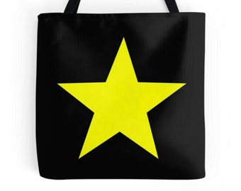 Yellow Star Bag, Star Tote, Star Purse, Star Bag, Star Book Bag, Yellow Black Bag, Yellow Star Tote