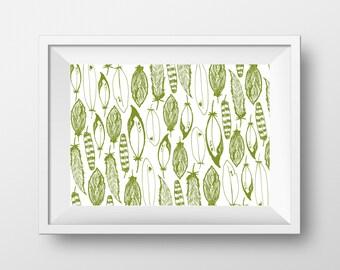 Green Feathers Art Print