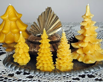 5 x Beeswax Christmas Tree Candles - Xmas, Christmas Table Centre Piece, Pure Natural, Fall - Beeswax Christmas Tree Candles