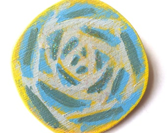 Illustrated wooden brooch, wooden sparkling yellow-blue rose, handmade one of a kind