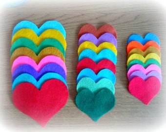 24 Hand cut hearts. Felt hearts. Felt hearts supply. Supply Felt hearts.Crafting Supplies. Supply Hearts. Appliqué Hearts