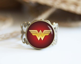 Wonder woman superhero 25mm adjustable ring, antique silver or antique bronze, cool jewelry