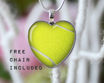 Heart shape tennis ball necklace. Sports gift pendant. Free matching chain is included.