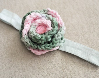 Baby Pink and Green Crochet Flower Headband