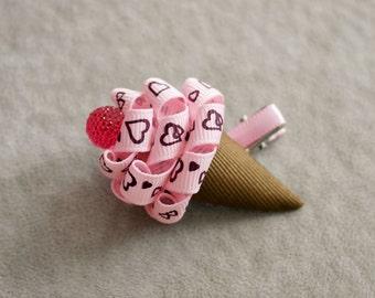 Heart pink Ice Cream Cone Hair Clip