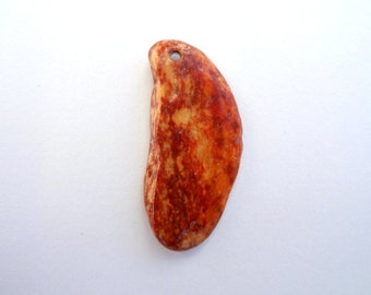 Drilled Pebble, Orange Pendant, Beach Pendant, Stone Pendant, Beach Jewelry