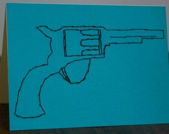 Greeting Card with Colt Revolver - Hand Embroidered - Keepsake Card