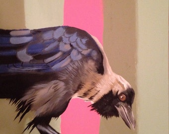 "Original Bird Painting. Crow. ""No where to Land"" series."