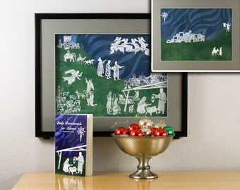 Scrolling Advent Calendar Nativity hand-painted art print with religious advent devotional book