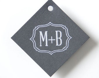 BRACKET INITIALS Gift Tags - Wedding Favor Tags, Wedding Gift Tags, Custom Gift Tags, Hang Tags Custom, Wedding Favors, Wedding Decorations