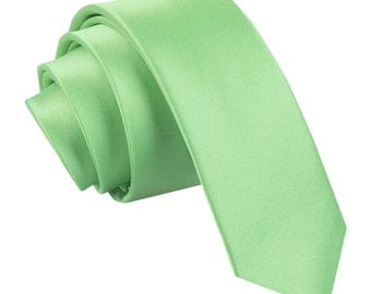 Satin Lime Green Skinny Tie