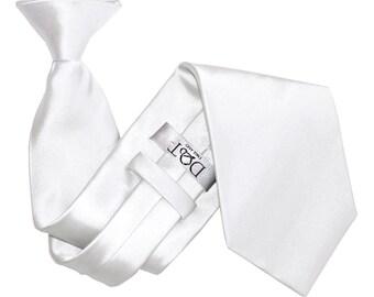 Satin White Clip On Tie