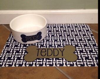 Personalized Dog Food Mat - Dog Bone Pattern - Mat Only