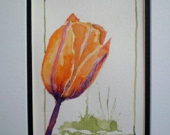 Tulip painting,  original tulip watercolor, mat included.