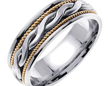 14K Gold Braided Wedding Band Ring, White Gold Braided Center Yellow Gold Rope Edges over White Gold Base for Men or Women (Sizes 3-14) 7mm