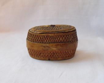 Antique  Finnish Birch Bark box, Allmoge box,  intricately ornamented, with later inscription.