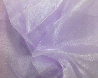 """Lavender Crystal Sheer Organza Fabric for Fashion, Crafts, Decorations 58"""" By the Yard"""