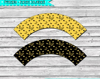 Black and Gold Butterfly Printable Cupcake Wrapper Set –  DIY printable party supplies – birthdays, showers, & weddings - INSTANT DOWNLOAD