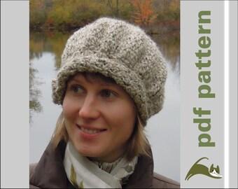 Crochet women hat pattern, elegant feminine slouch, pdf