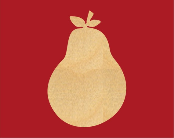 Pear Fruit Wood Cutout Shape Laser Cut Crafts Gift By