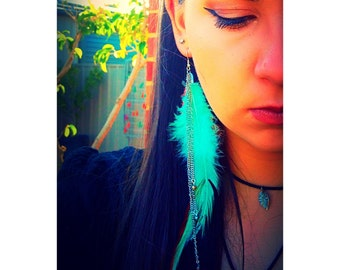 Single Feather & Crystal Earring