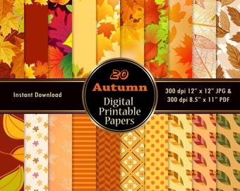 Autumn Scrapbook Paper Pack 20 Orange Red Green Printable Thanksgiving Digital Paper Wrapping Leaf Leaves DOWNLOAD 12x12 JPG PDF