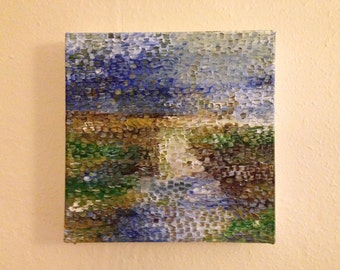 Original abstract landscape oil painting on canvas - Marsh