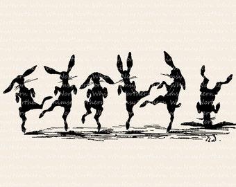 Dancing Bunnies – Vintage Easter Clip Art Image – Rabbit Digital Stamp - Printable Transfer Graphic – instant download clipart - CU OK