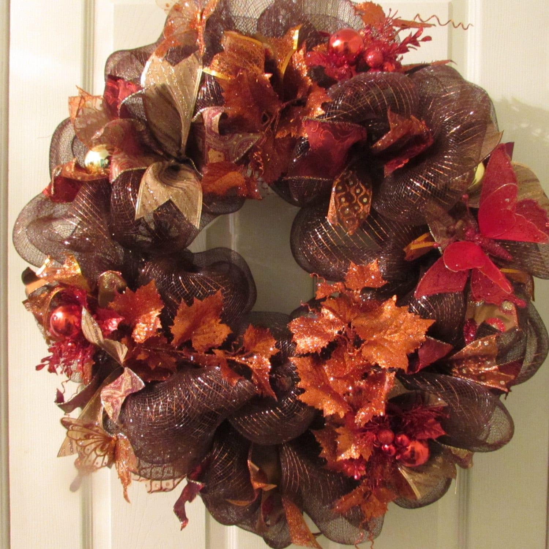 Garland For Front Door: Thanksgiving Deco Mesh Wreath Front Door Wreath For Fall