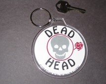 """1979 Vintage Grateful Dead """"Dead Head"""" 3 inck button print turned collectors key chain / ring rock band music button photos"""