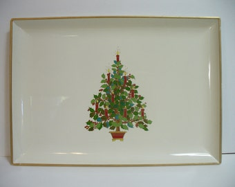 Vintage Christmas tree laquer tray - green & red on white - Otagiri Japan - 8 inches - HS-TR-001
