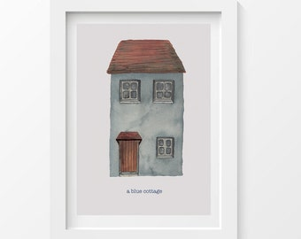 Blue cottage postcard - printed on thick paper