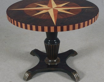 1940s Swedish Intarsia (Inlaid Pictorial Wood) Center Table