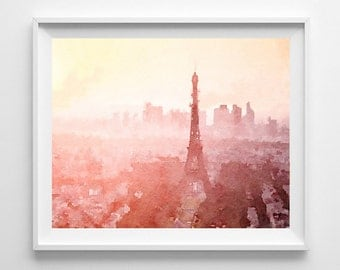 Paris sunset print painting from original watercolor wall decor home decor,Pic no 73