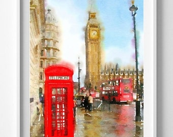 Big Ben print, watercolor, giclee print,  , illustration ,wall art, wall decor, Pic no 42