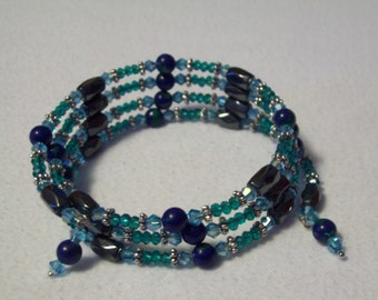 Azurite Beaded Memory Wire Bracelet