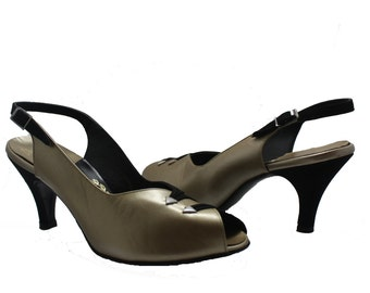 Black and Gold Slingbacks - Size 5.5W