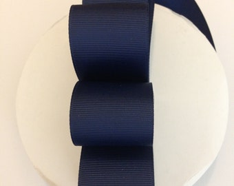 "5 yards 1.5 inch Navy Grosgrain Ribbon - Navy Grosgrain Ribbon 5 yards - Navy Ribbon - 1 1/2"" Navy Grosgrain Ribbon"
