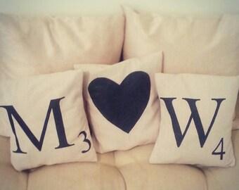 "Custom Scrabble Letter throw pillow covers 12""x12"""