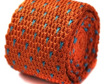 knitted orange and light blue spotty skinny tie by Frederick Thomas FT1198