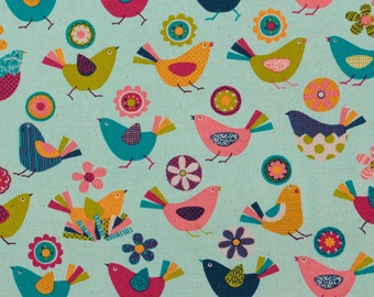 Animal party, chirpy birds, white - Fat Quarter
