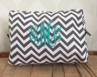 Chevron Monogrammed Makeup Bag - Personalized Cosmetic Bag - Bridesmaid Gift - Wedding Gift