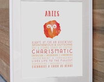 Aries Zodiac Print - the Perfect Gift or Party Favour!  Can be Individually Personalized, Available in 5 Colours.
