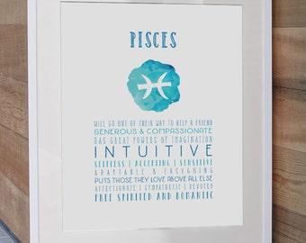 Pisces, Zodiac, Astrology, Zodiac Art Print, Pisces Art Print, Pisces Zodiac, Pisces Poster, Astrology Art, Pisces Gift,  Astrology Gift