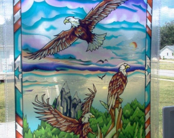 "Eagle (Vertical) Window Hanging Artwork ""Stained Glass"" Digital Style Transparent Print"