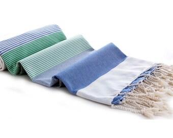 Peshtemal Blue Green and White Lined Beach Towel