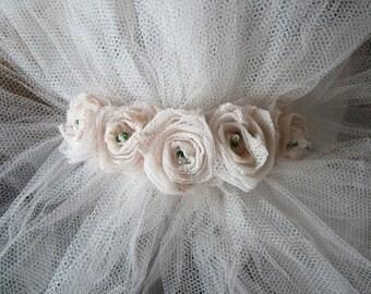 Blush Pink Silk Tulle Bridal Veil, Floor length + Blusher & Rose Adornment