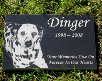 Pet Memorial Stone Granite With Photo  9 x 14  x 1.25 Includes Shipping